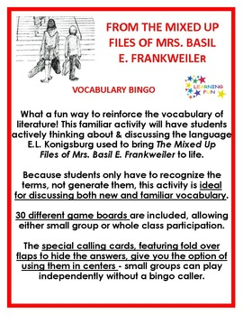 From the Mixed Up Files of Mrs. Basil E. Frankweiler Vocab