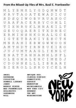 From the Mixed-Up Files of Mrs. Basil E. Frankweiler Word Search