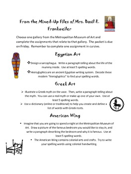 From the Mixed-Up Files...Literature Circle Guide