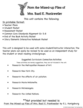 From the Mixed-up Files of Mrs Basil E Frankweiler Novel Study Printable Version