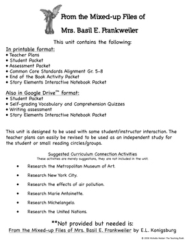 From the Mixed-up Files of Mrs. Basil E. Frankweiler Novel Study Book Unit