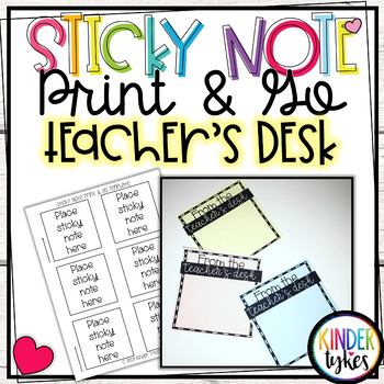 From the Teacher's Desk Sticky Note Print & Go Template