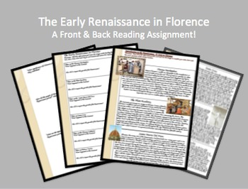 """Front & Back"" Early Renaissance in Florence Reading & Review Assignment"