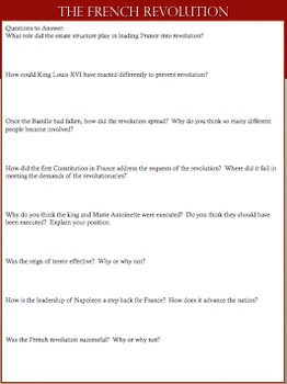 """Front & Back"" French Revolution Student Reading & Review Assignment"