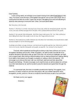 Front Desk Parent Letter