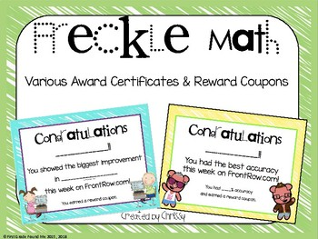 Front Row Math Award Certificates