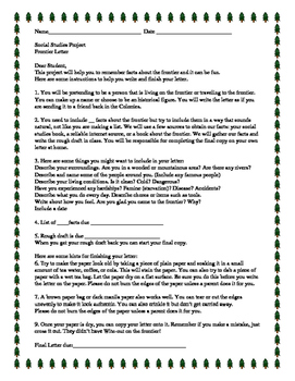 Frontier Letter Activity with printable and student instruction page