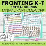 Fronting Minimal Pairs Homework | K-T Initial Words | Spee
