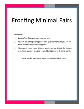 Fronting Minimal Pairs