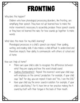 Fronting Phonological Processing Disorder Parent Letter