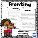 Fronting   Parent or Teacher Letter for Phonological Processing