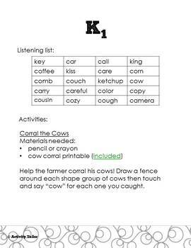 K and G Activities for Playtime