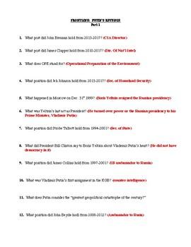 Frontline:  Putin's Revenge Part 1 Worksheet