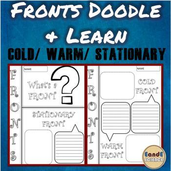 Fronts (Stationary Front, Cold Front, Warm Front) Science Doodle Notes