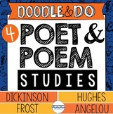 Frost, Angelou, Hughes, and Dickinson – Poet & Poem Studies Doodle Notes BUNDLE