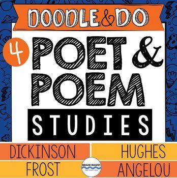 Frost, Angelou, Hughes, and Dickinson – Poet & Poem Studies Doodle Notes BUNDLE