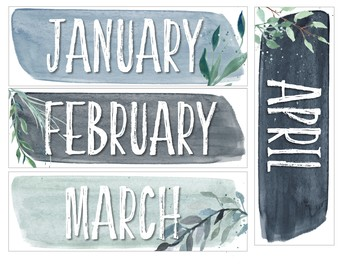Frosted Blues Watercolor Classroom Calendar Set