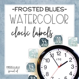 Frosted Blues Watercolor Clock Labels
