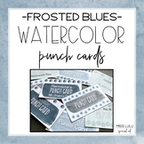 Frosted Blues Watercolor Editable Punch Pass Cards