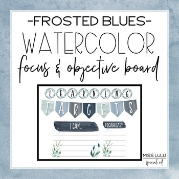 Frosted Blues Watercolor Focus & Objective Board {Editable}