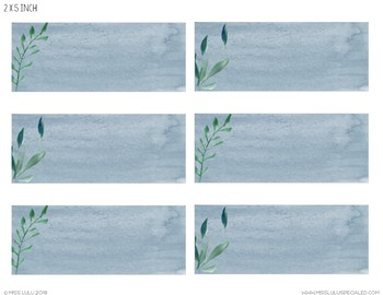Frosted Blues Watercolor Labels {Editable}