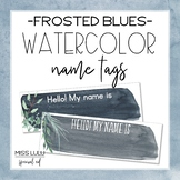 Frosted Blues Watercolor Name Tags {Editable}