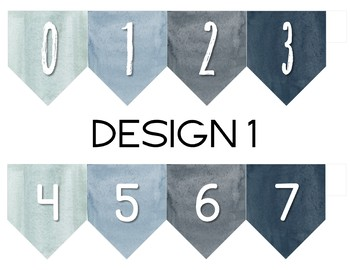 Frosted Blues Watercolor Number Line