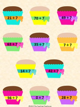 Frosting Cupcakes Dividing by 7 File Folder Game ~ Division Activity/Center