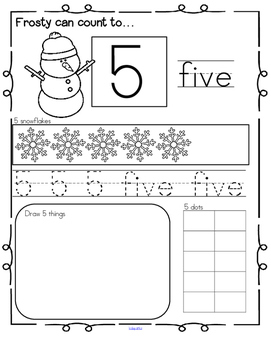 Winter Number Practice Printables - Recognition Tracing Counting 1-20