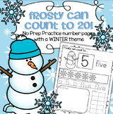 Winter Snowman Number Practice Printables - Recognition Tracing Counting 1-20