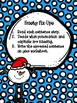 Frosty Fix-Ups: Fixing punctuation and capitals in sentence cards.
