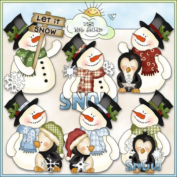 Frosty Fred & Friends Love The Snow Clip Art - Snowman - CU Colored Clip Art