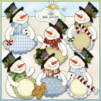 Frosty Fred Sentiments Clip Art - Snowman Christmas - CU Colored Clip Art