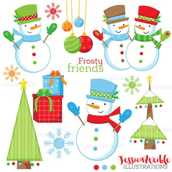 Frosty Friends Cute Digital Clipart, Christmas Graphics