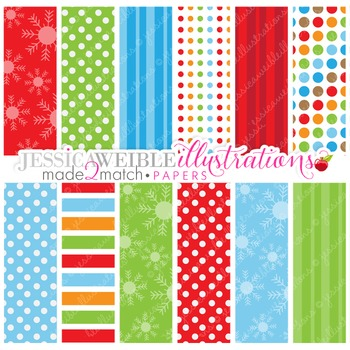Frosty Friends Matching Digital Papers, Christmas Papers, Winter