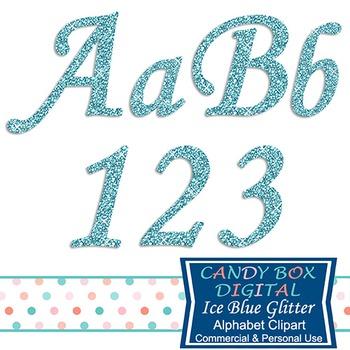 Frosty, Frozen Ice Blue Glitter Alphabet Clip Art