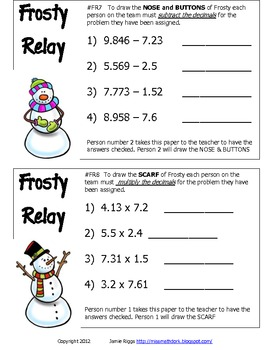 Operations with whole numbers and decimals : Frosty Relay - A fun way to review