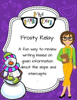 Equation Writing! Frosty Relay: A fun way to review writing equation of a line.