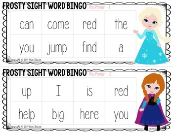 Frosty Sight Word Bingo: A Frozen -inspired game for Pre-Primer