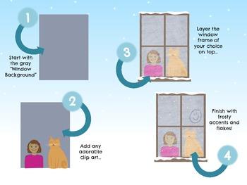 Frosty Winter Window Clip Art Set