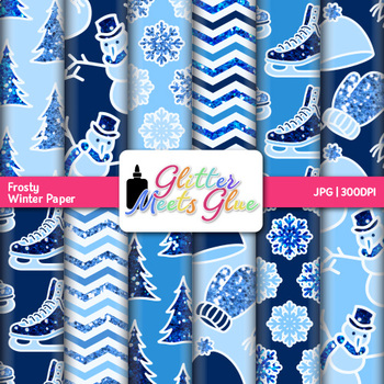 Frosty Winter Paper {Scrapbook Backgrounds for Task Cards & Brag Tags}