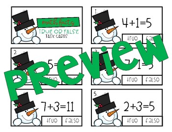 Frosty's True or False Math Facts Task Cards