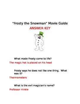 Frosty the Snowman Movie Guide Questions