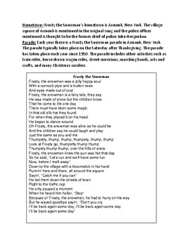 Frosty the Snowman - Review Article history facts lesson review questions