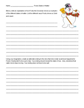 Frosty the Snowman States of Matter Writing