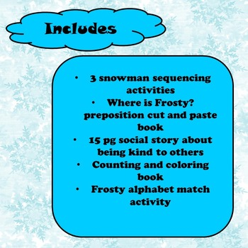 Frosty the Snowman Unit for Special Education