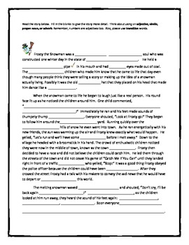 Frosty the Snowman Writing Activity