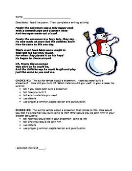 Frosty the Snowman Writing Response