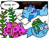Frowny Fish at School Clip Art Pack