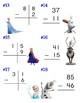 Frozen 2-digit subtraction Scoot - 18 questions and an answer board